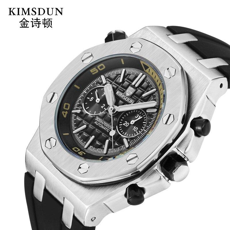 Montre mécanique automatique cadran classique 42mm noir Silicone Sport montre à la mode hommes d'affaires marque horloge Date relogio masculino