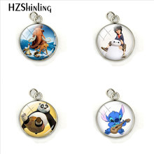 Fashion Cartoon Animal Movies Anime Photos Glass Cabochon Charm Pendant Hand Craft Stainless Steel Jewelry Gift for Children(China)