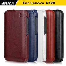 Lenovo a328 case cover Luxury flip leather case iMUCA Mobile phone accessories for Lenovo a328 a328t 4.5″