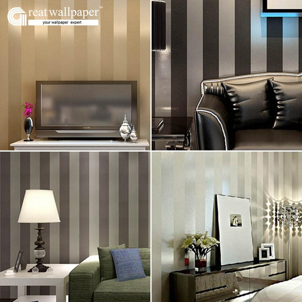 gran muralla no tejido negro blanco plata oro brillo papel pintado a rayas pared del