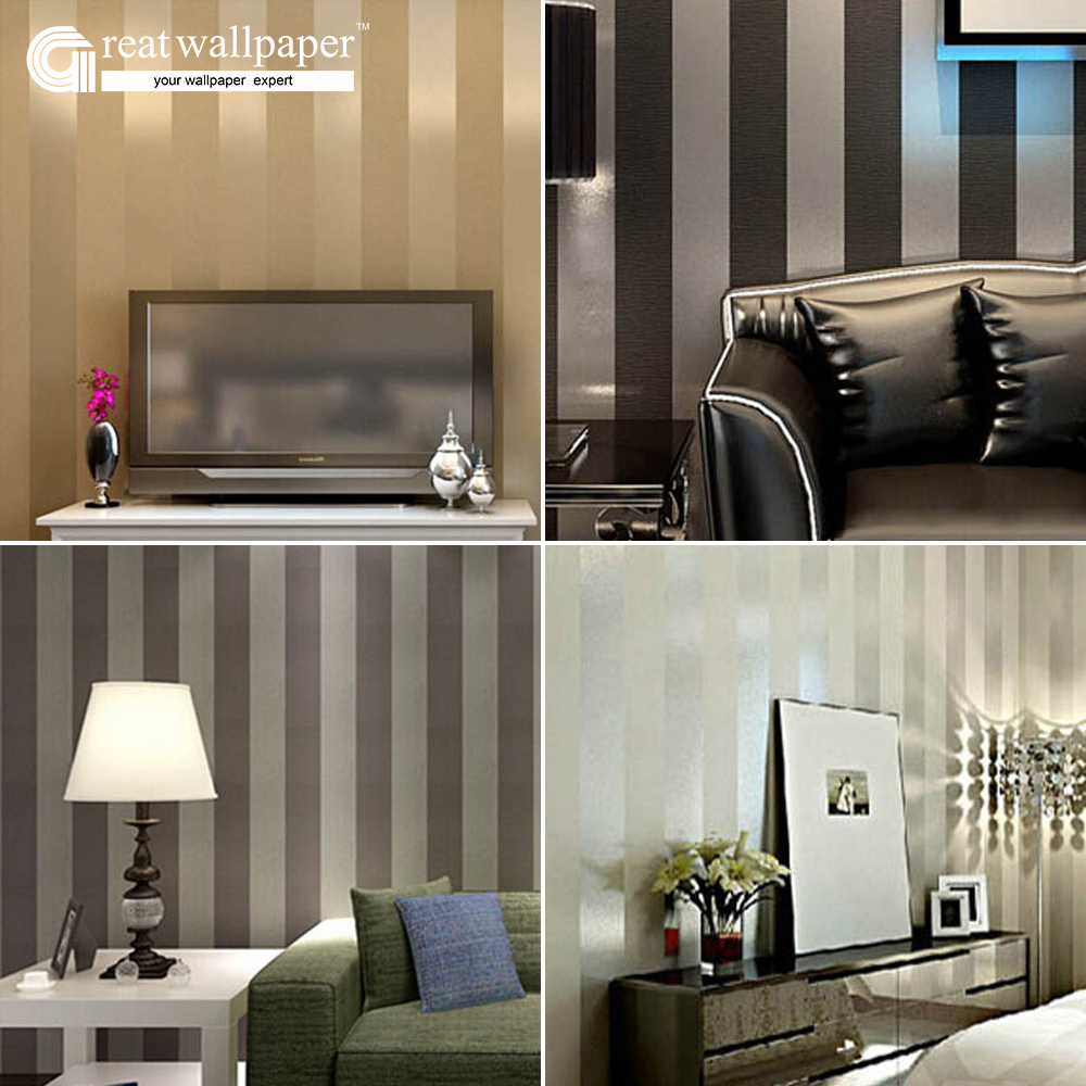 Great wall non woven black white silver gold glitter for Silver wallpaper for walls