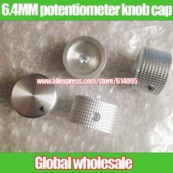 Tapa con botón para potenciómetro, tapa con botón para potenciómetro de aluminio plateado, con orificio de 25MM x 15MM, 6,4 MM, 5 uds.
