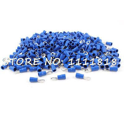 цена на 1000Pcs RVS2-4 Ring Tongue Pre Insulated Terminal Blue for #8 Stud AWG 16-14