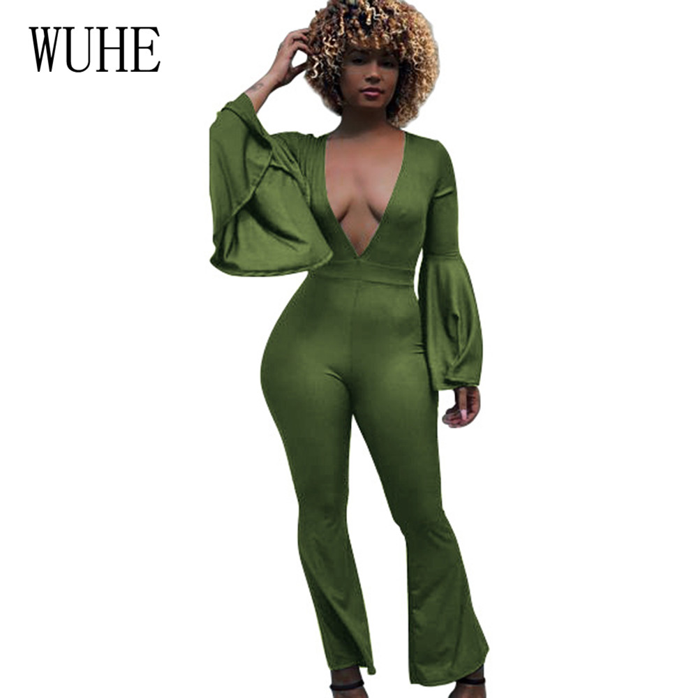 WUHE New Arrival Trumpet Sleeve Sexy Autumn Jumpsuits Women Deep V-neck Slim Bandage Ladies Hollow Out Party Rompers