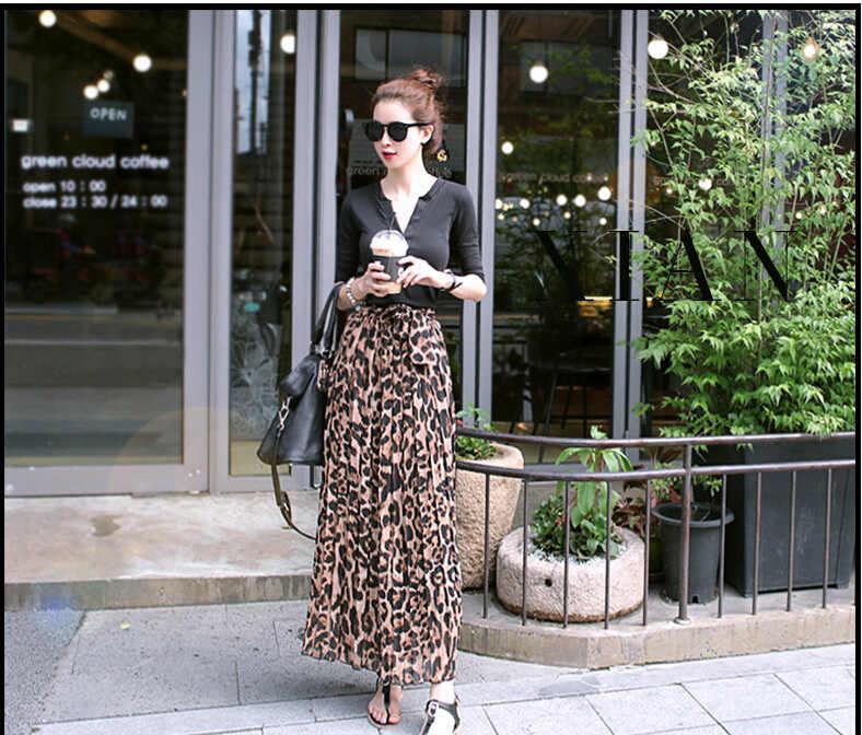 9985ccaf7 ... TingYiLi Summer Women Long Leopard Print Skirt Elastic High Waist  Chiffon Pleated Slim Fit Casual Maxi ...