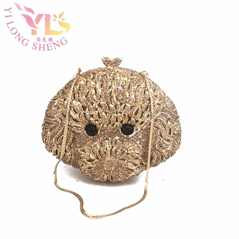 купить Women's Stone Crystals Beaded Delicate Clutches Evening Bag Gold Dog Animal Clutches 2017 NEW Design Evening Clutches YLS-A41 недорого