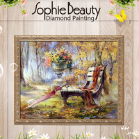 Diy Square Diamond Painting Cross Stitch Diamond Embroidery Scenic Park Benches Pattern Hobbies And Diamond Mosaic