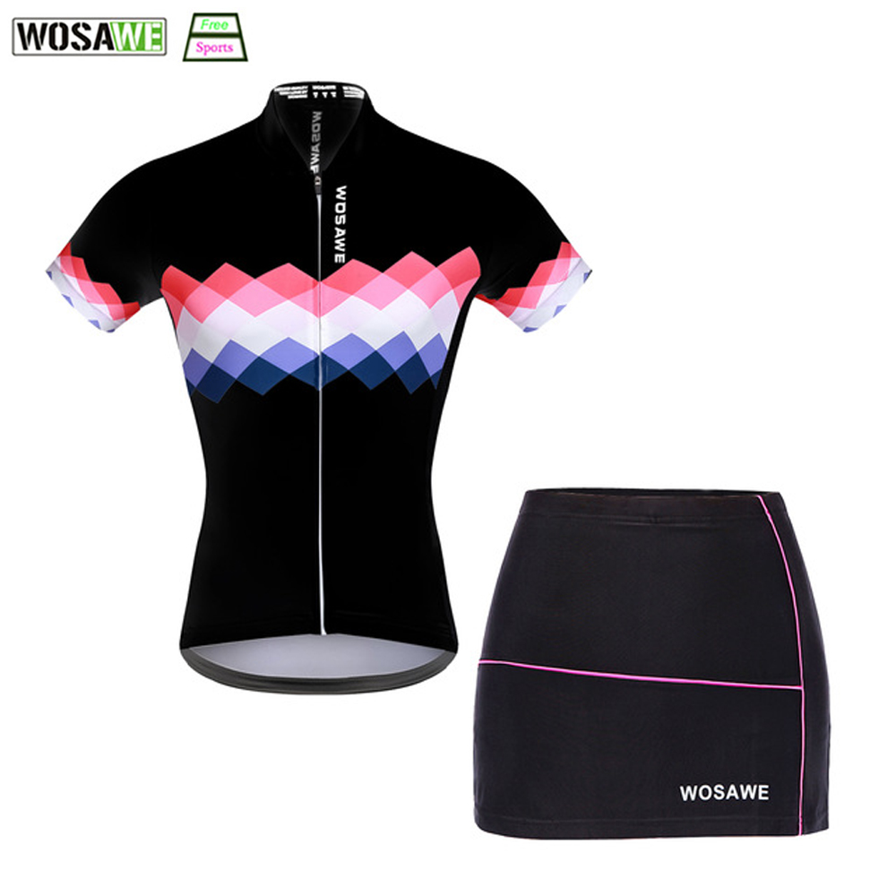 WOSAWE 2018 Cycling Jersey Sets for Women Mountain Bike Riding Shirt Girls Skirt Breathable Bicycle Clothes Team Sportswear ai speed europe outdoor riding mountain bike cycling clothes ultra thin breathable split poncho raincoat portable