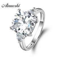 Big 5 Carat Cushion Square Cut Wedding Ring 3 Stones Rings 925 Sterling Silver Band Women Engagement Wedding Rings Wholesale