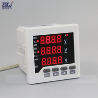 Digital LED display Panel mounting 3 phase AC Voltage meter ,0 450 voltage range ,220V power supply V meter