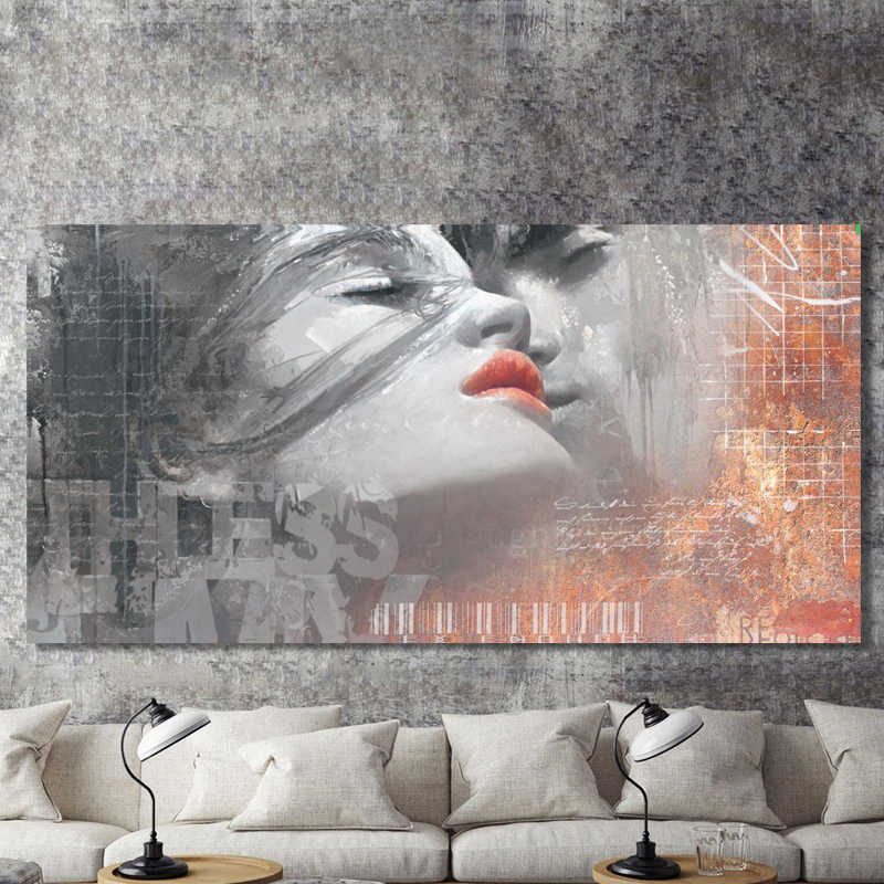 Modern Graffiti Art Posters and Prints Wall Art Canvas Painting Abstract Lover Kiss Decorative Painting for Living Room Decor
