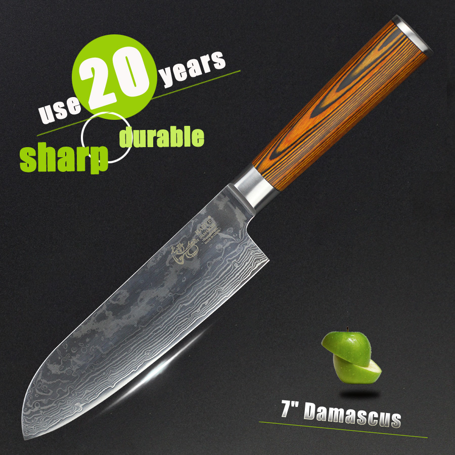HAOYE 7 inch Santoku knife 73 layers Damascus kitchen knives Japanese vg10 carbon Premium chef fish Asian knife tools sales NEW