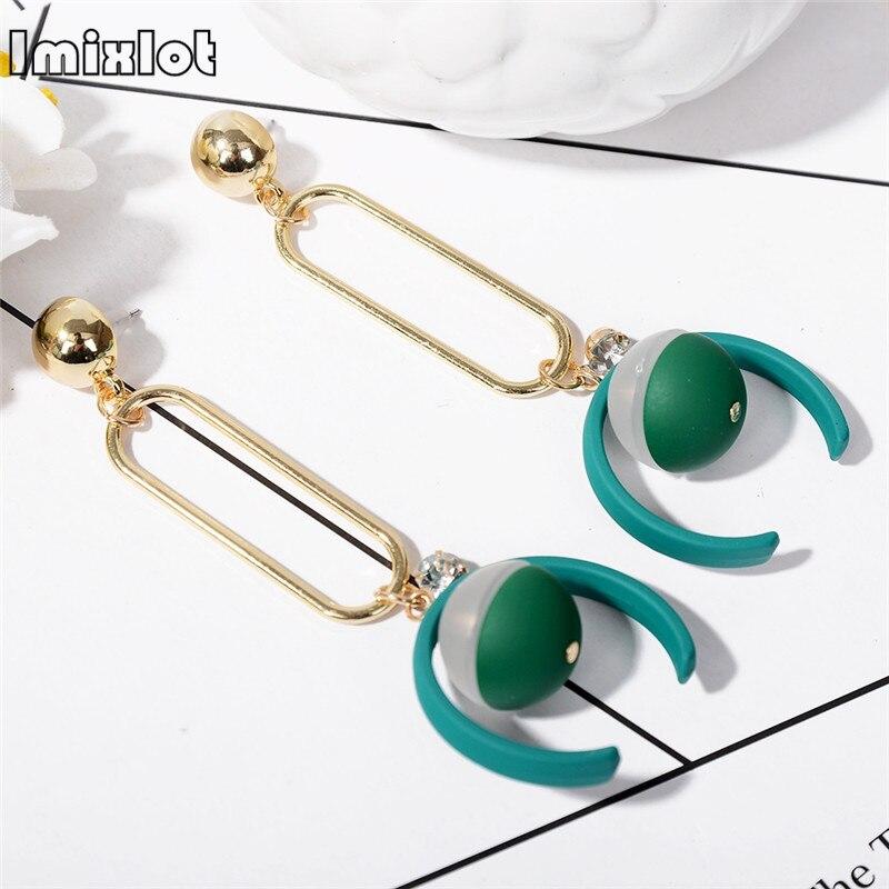 Novelty Hollow Metal Frame Drop Earrings Green Semicircle Shape Pendant Dangle Earrings Trendy Women Jewelry Christmas Gift