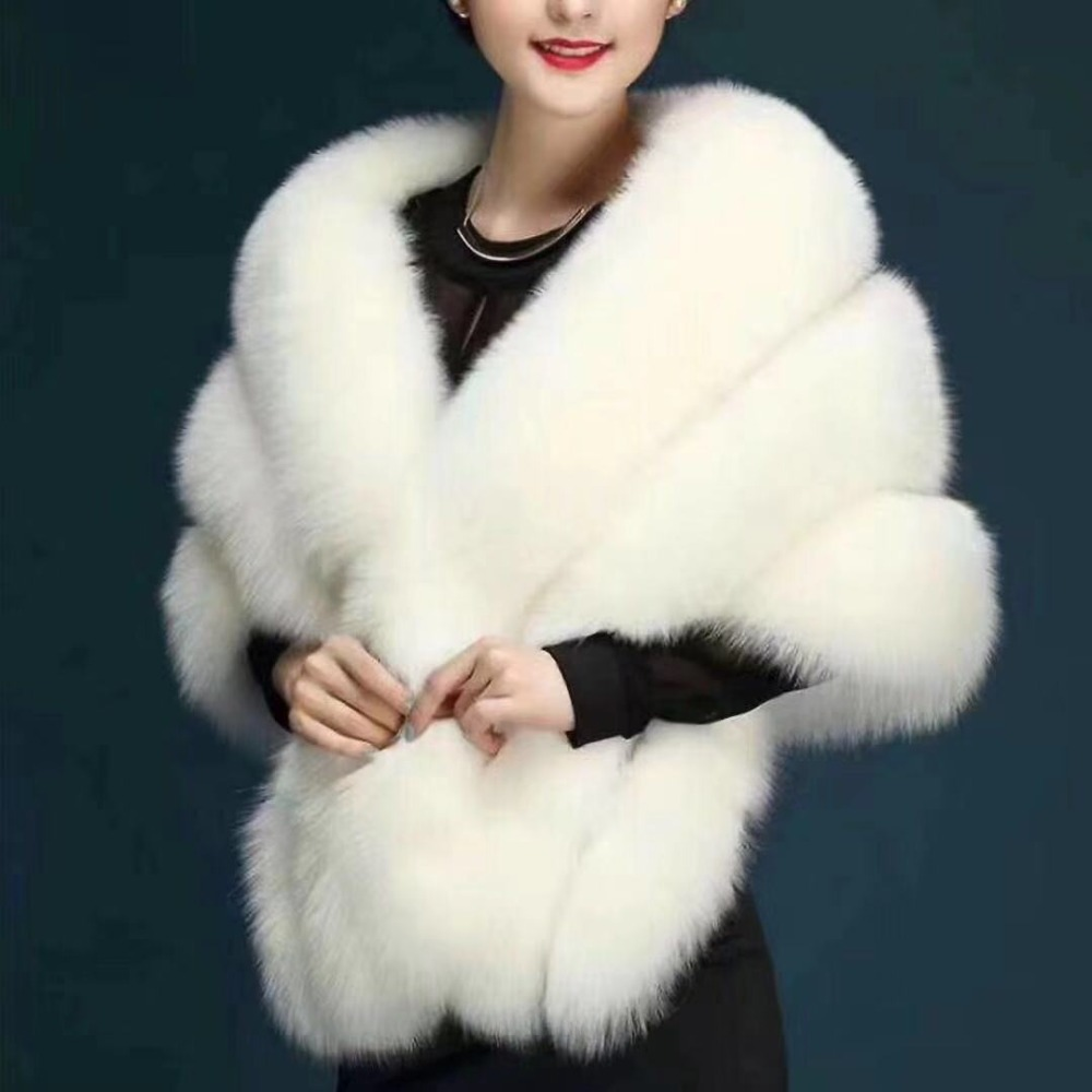 Elegant Bridal Capes Faux Fur  Winter  Bridal Wraps Coat