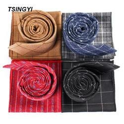 Tsingyi мужской галстук комплект 6 см 100% хлопок галстук в клетку и платок подарок Vestidos Gravatas деловые Свадебные Галстуки для Для мужчин