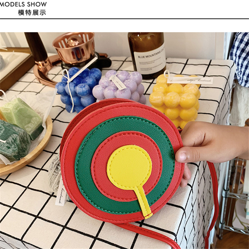 Girls bag cute lollipop shoulder bag kids rainbow candy color children 39 s accessories bag in Crossbody Bags from Luggage amp Bags