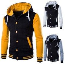 Rusanranz Brand 2018  New Arrival Men's Autumn/Winter Warm Baseball Hoodie Patchwork Casual  Pullover Top Sweatshirt