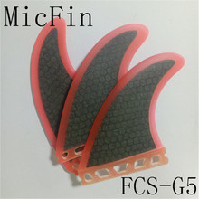 Micfin FCS fin Fiberglass Honey comb Black red color Surf fin 3pcs/set fins pranchas de surf quilhas fcs surfing fins