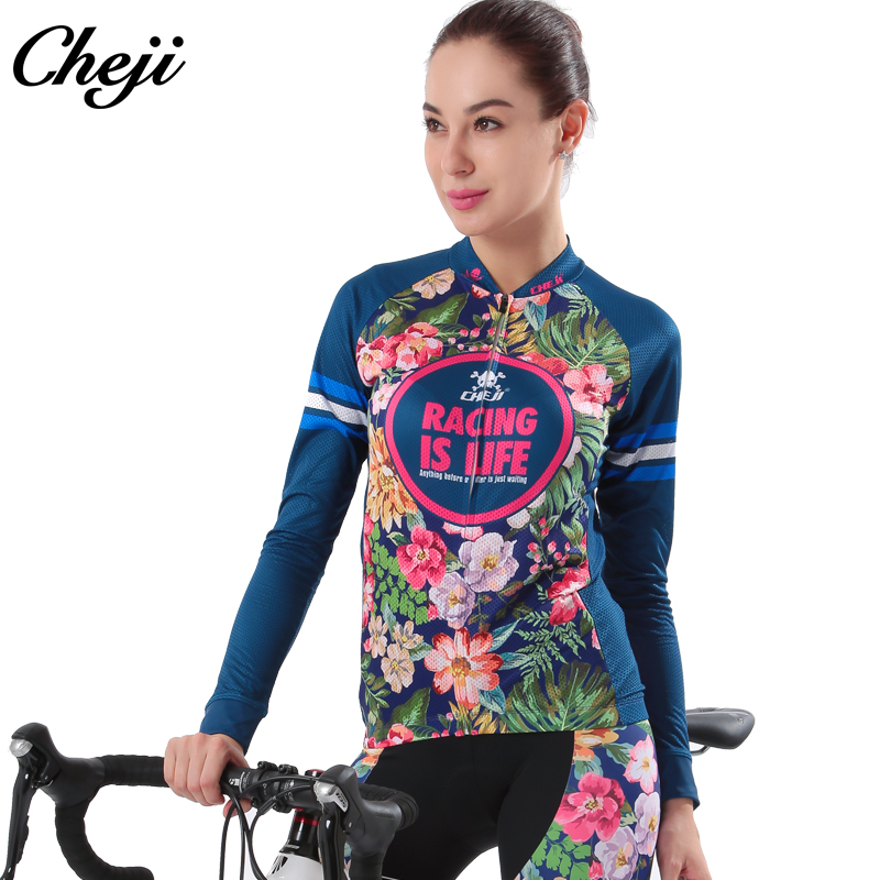 Cheji Cycling Wear Quick Dry Women Spring Autumn Long Sleeve Jersey Long Pant Set Customzied Pro Team Bike Jersey Pants gore bike wear women s xenon lady jersey