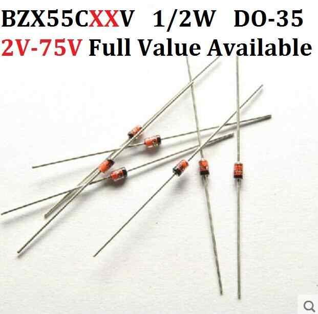 100 pces 1/2 w diodo zener do-35 bzx55c15v 16 v 18 v 20 v 22 v 24 v 27 v 30 v 33 v 36 v 39 v 43 v 47 v 51 v 56 v 62 v 68 v 75 v. Bzx55c/18/20/22/v