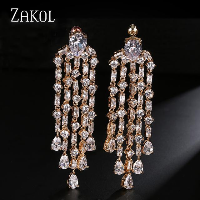 ZAKOL Lindo Teardrop Zircon Tassel Dangle Brinco Brilhante Banhado A Ouro Ear Jóias Para Mulheres Elegantes/Senhoras Acessórios FSEP430