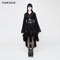 Панк рейв женские Готический Сексуальная Лолита Японии кимоно платье черный цветочный куртка в псевдостаринном стиле WLQ084