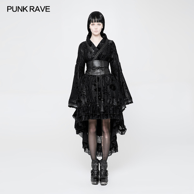 Punk Rave damska gotycka seksowna Lolita japonia Kimono sukienka czarna kwiecista kurtka steampunk WLQ084