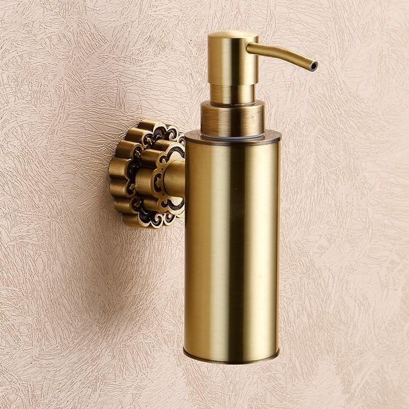 Дозаторы жидкого мыла настенный ручной Античная Латунь жидкий шампунь душ контейнер Мыло держатель Аксессуары для ванной комнаты 3ABC