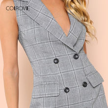 COLROVIE Plaid Work Wrap Button Pockets Vintage Dress V Neck Shirt Sexy Dress Women Autumn Elegant Mini Summer Dresses