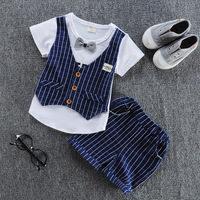 Small Or Toddler Baby Clothing Suits Fake Vest Short Sleeve T Shirt Plaid Shorts Vintage Little