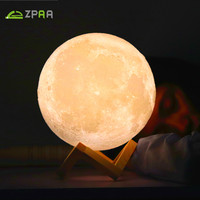 Usb Lamp 3d Print Moon Nightlight Luminaria Rechargeable Touch Night Light Led Dimmable White Warm Colors