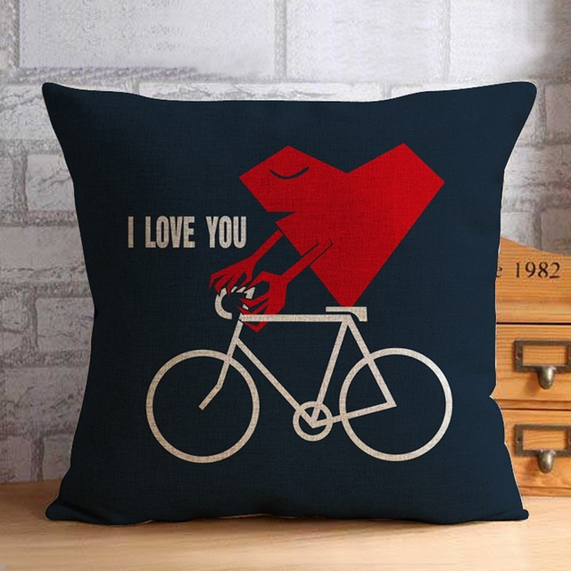 45x45cm Vintage Cotton Linen Wedding Home Decor Decorative Cushion Pillow Covering Case-Mr&Mrs Lover Gift