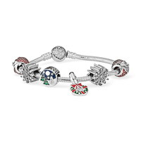 NEW 925 Sterling Silver Sparkling Surprise&Twinkling Christmas Old Man Snow Charms Fit Bracelets & Clear CZ Women DIY Gift