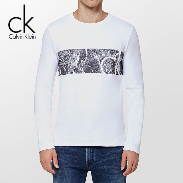 Calvin Klein Jeans / CK 2017 Autumn Winter New Men's Casual Round Neck Long Sleeve T shirt Men Slim Cotton Printing Tops Tees