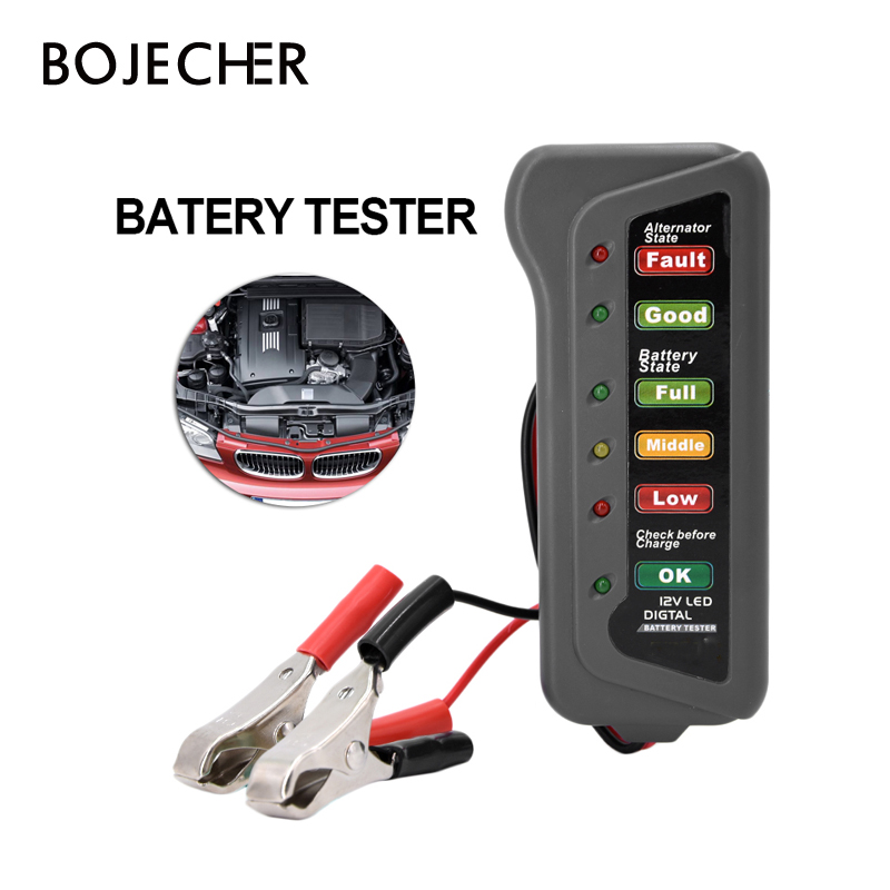 12V Battery Tester Car Alternator Test Motorcycle Batteries 12 Volt Testing Tool
