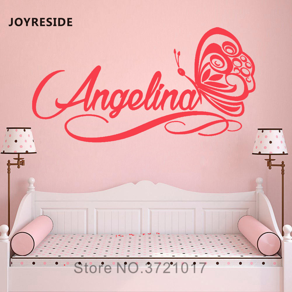 JOYRESIDE Personalized Name Wall Decal Butterfly Vinyl Sticker Baby Girl Bedroom Home Decor Wall Decal Interior Decor Mural A601