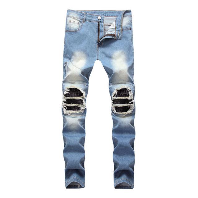 2019 Famous High Street Fashion Men Jeans Blue Color Destroyed Ripped Jeans Jeans Men Motor Biker Jeans Homme