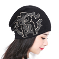 Autumn And Winter Knitted hats for Women beanies Lady skullies Diamond pearl hat Hip-hop Cap gorro bonnet womens turban caps