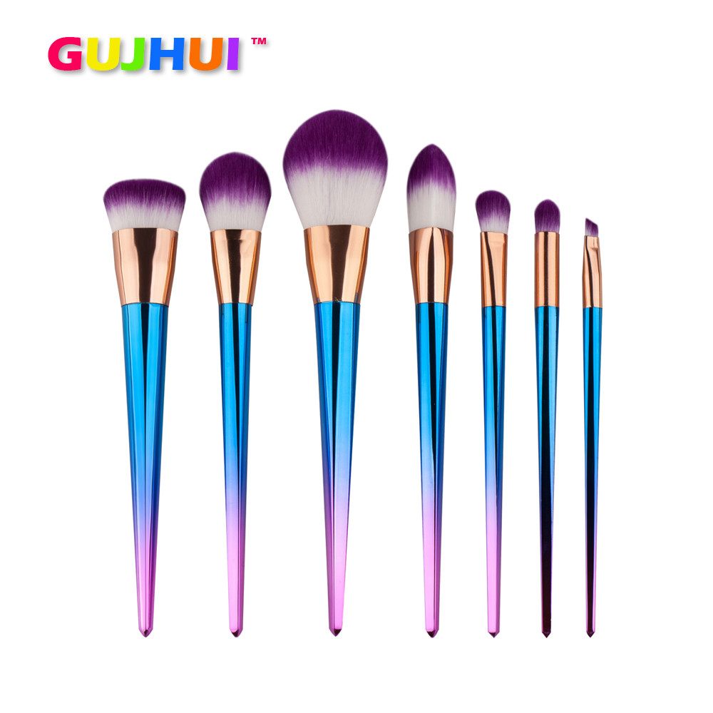Pro 7PCS Cosmetic Makeup Brush Foundation Face Blush Powder Colourful Plastic Handle Beauty Eyeshadow Brush Professional Makeup new design stamp seal shape face makeup brush foundation powder blush contour brush cosmetic facial brush cosmetic makeup tool