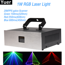 New 1W RGB Laser Light DMX 512 Sound Controller Disco Ball DJ Party Club KTV Lights Stage Effect Laser Projector Lighting 1w laser