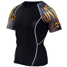 Summer Men Compression Skull 3d printed Short t shirt Run jogging Skin Tight Base Layer gym Fitness workout MMA tee Tops clothes цена 2017