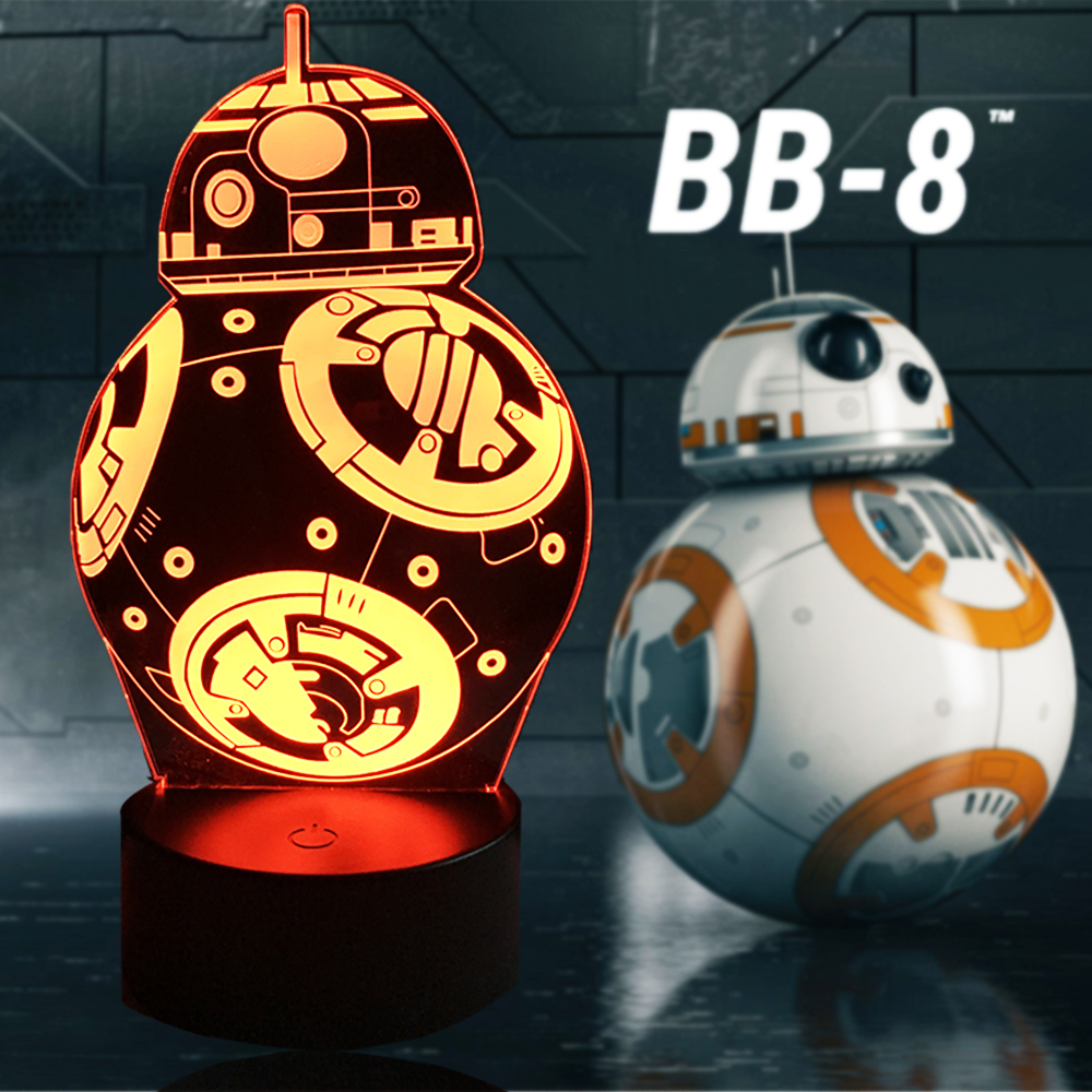 NEW Cartoon Star Wars 3D LED Bulb LAMP Action Figure Gift Toys BB-8 Ball Robot RGB Mood Night Light Children Table USB Lighting no 300pc 8 bb 3