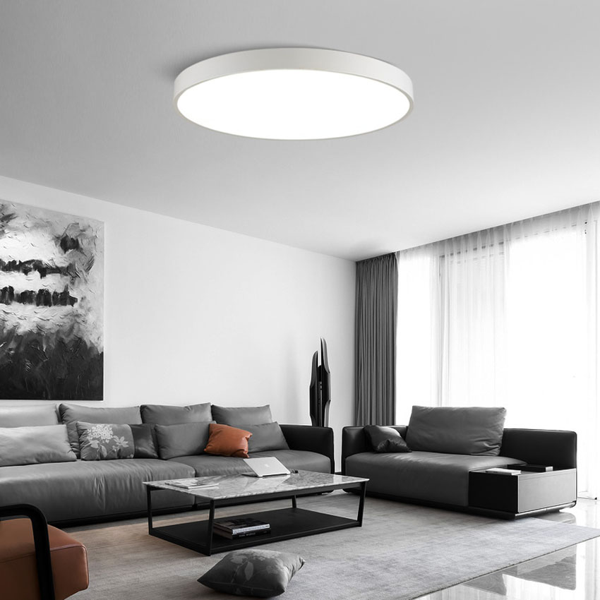 US $30.03 9% OFF Modern ultra thin 5cm LED ceiling light black white dia 23  30cm living dining room bedroom Balcony ceiling lamp lighting fixture-in ...