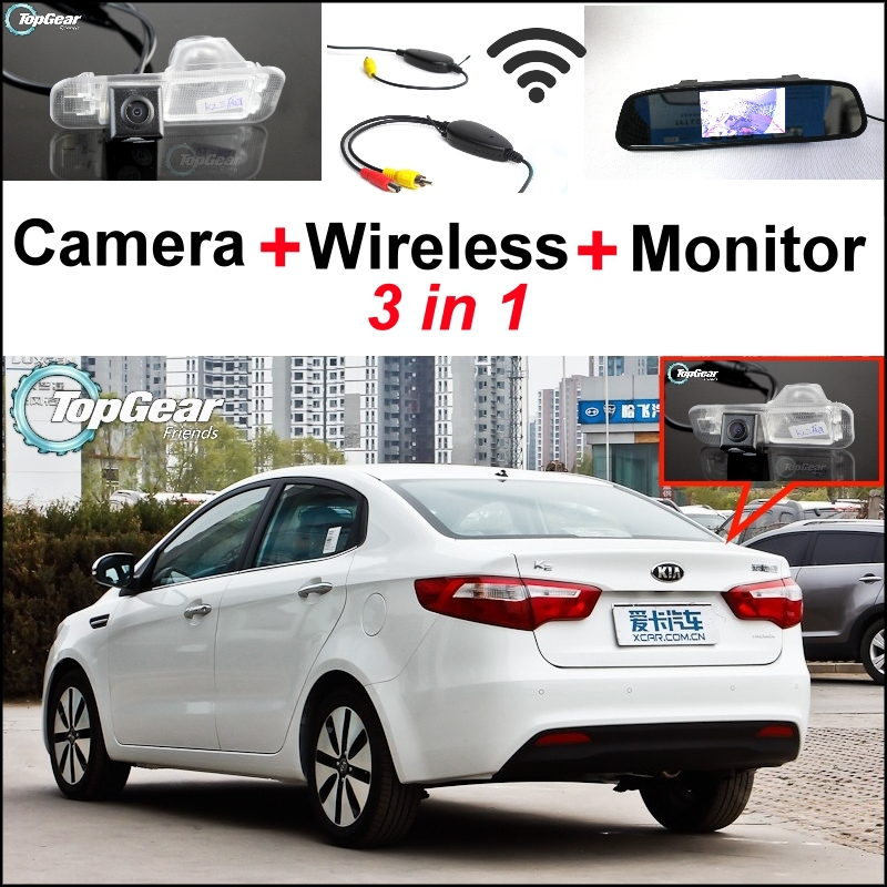 3 in1 Special Camera + Wireless Receiver + Mirror Monitor Easy DIY Back Up Parking System For KIA Rio K2 Pride Sedan 2011~2015 цена