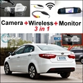 3 in1 Special Camera + Wireless Receiver + Mirror Monitor Easy DIY Back Up Parking System For KIA Rio K2 Pride Sedan 2011~2015