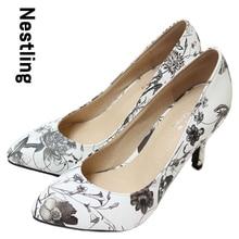 New 2015 sheepskin pointed toe Flower women pumps Genuine leather spike heels women high heels shoes woman Size 34-40 D50