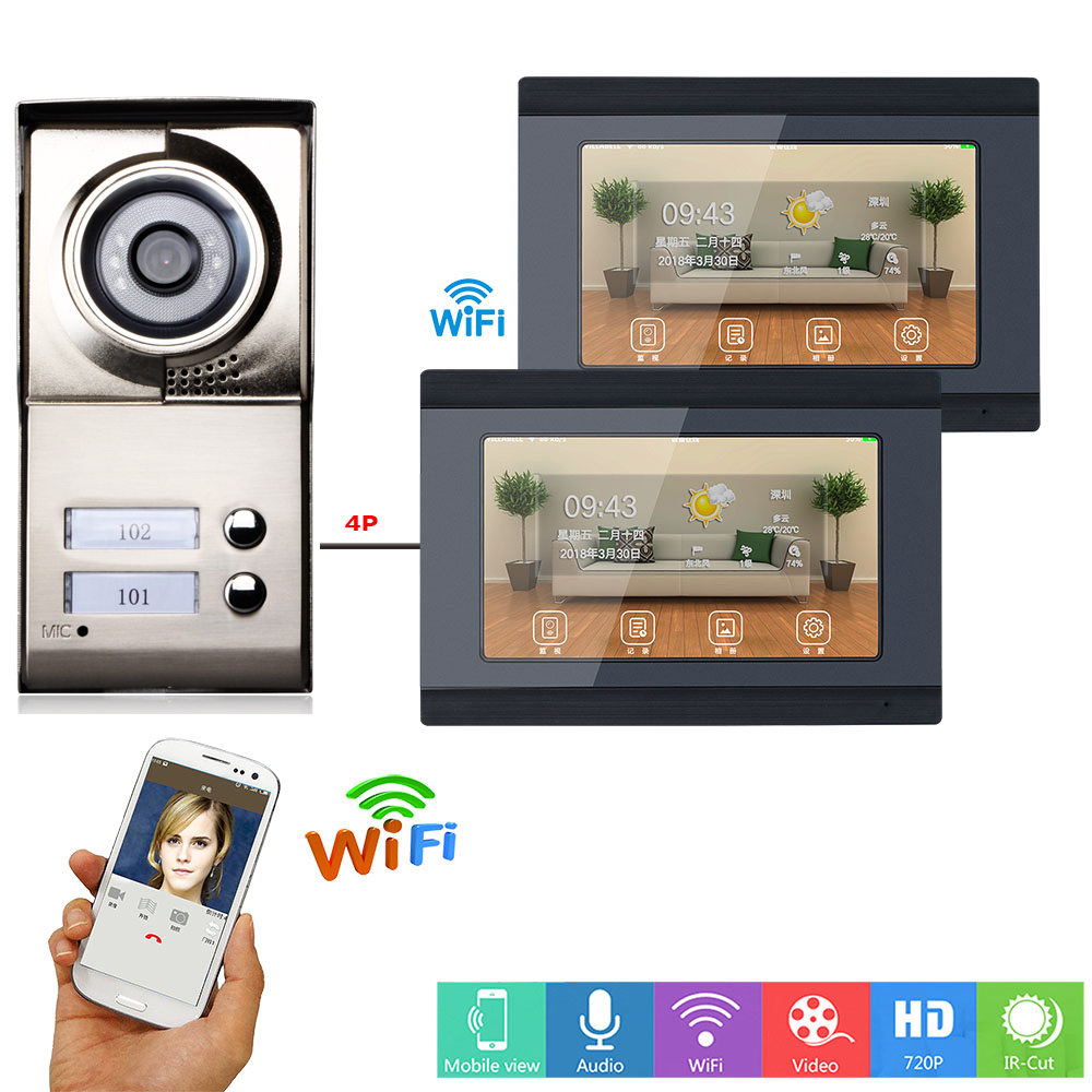 Yobang Security 2 Apartment APP Control 7 Inch Monitor Wifi Wireless Video Door Phone Doorbell Speakephone Camera Intercom KIT