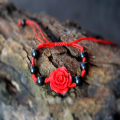 Chinese lotus Flower Red Bracelet for woman man Jewelry Natural hand-carved Braid bracelet Charm red thread Buddha Prayer beads
