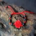 Flor de loto chino Rojo Trenza de Pulsera para la mujer hombre Joyería Natural mano-tallado Oración Buda Encanto pulsera de hilo rojo cuentas