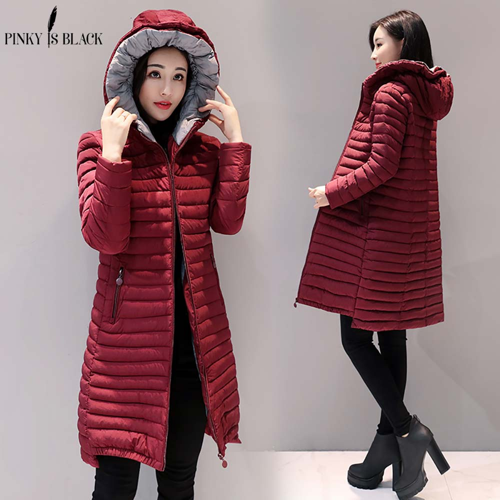 Pinky Is Black 2018 Winter Jacket Women Fashion Women Winter Coat Slim Long   Parkas   Cotton Winter Coats And Jackets Plus Size 3XL